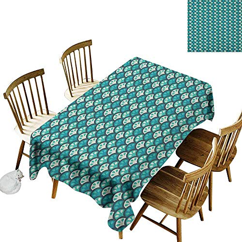 (DONEECKL Abstract Waterproof Tablecloth Polyester Tablecloth Scales Pattern with Curvy Half Circles Citrus Fruit Tropical Lemon Art Sea Green Teal White W70 xL120)