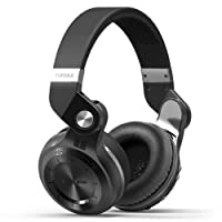 Bluedio T2s Bluetooth Headphones On Ear with Mic, 57mm Driver Rotary Folding Wireless Headset, Wired and Wireless headphones for Cell Phone/TV/ PC, 40 Hours Play Time (Black)