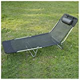 Unbranded* Outdoor Folding Reclining Beach Sun Patio Chaise Lounge Chair Pool Lawn Lounger (BLACK)