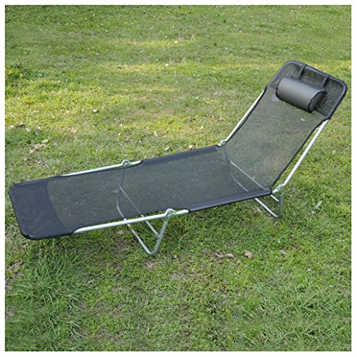 Unbranded* Outdoor Folding Reclining Beach Sun Patio Chaise Lounge Chair  Pool Lawn Lounger (BLACK