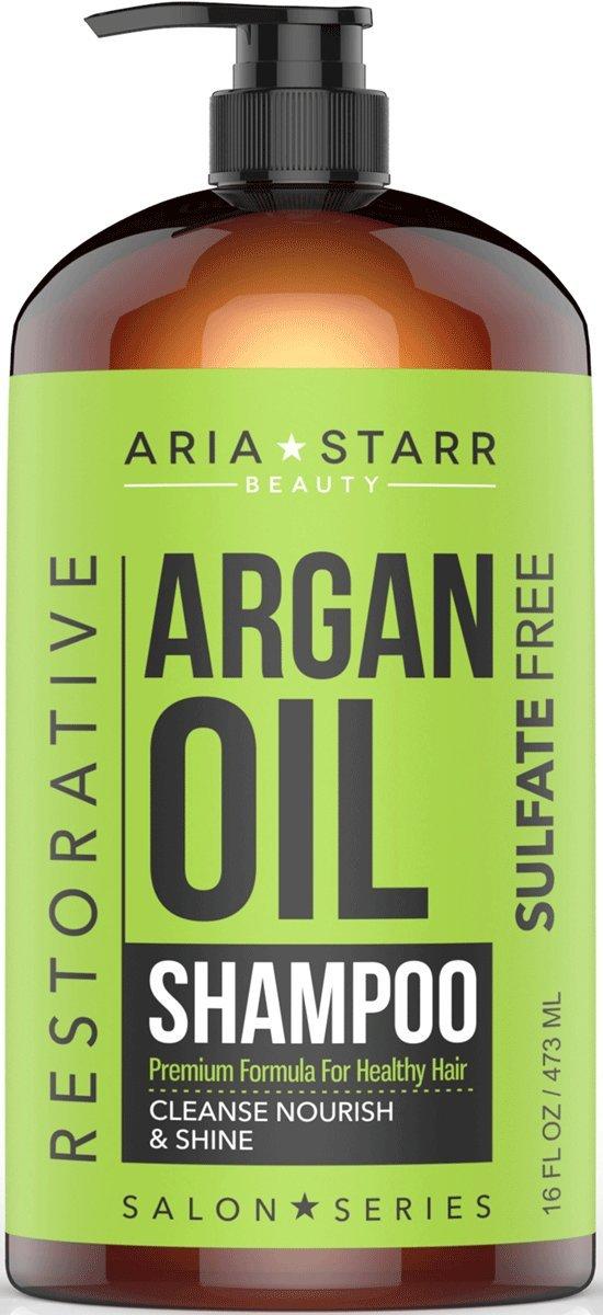 Aria Starr Argan Oil Shampoo With Keratin, Coconut, Jojoba - Natural Moisturizing Sulfate Free Shampoo For Color Treated, Curly Hair, For Men & Women, 16 FL OZ