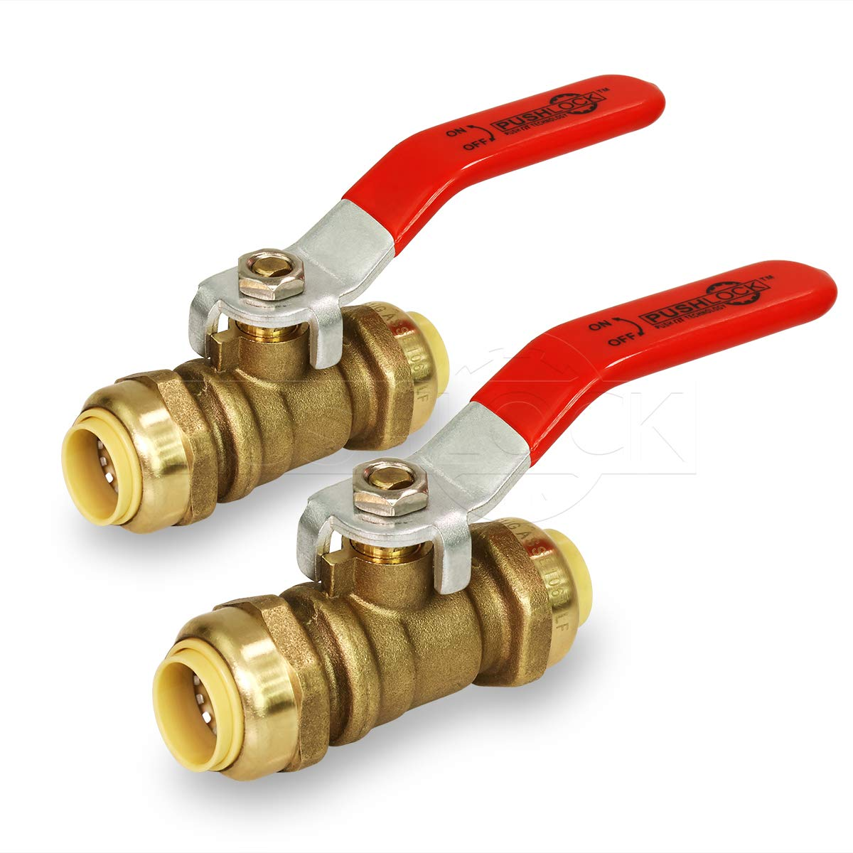 Pushlock UPBV12-2 Full Port fit Ball Valve Water Shut Off Push to Connect PEX,Copper, CPVC, 1/2 Inch, Brass Pack of 2