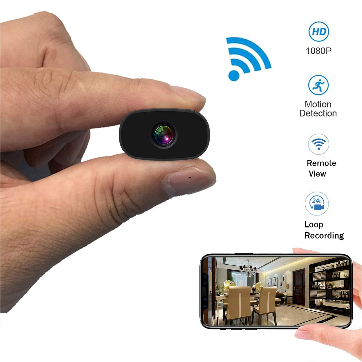 Mini Hidden Cameras PNZEO W3 Spy Cam Portable Wireless WiFi Remote View Camera Small Home Security Cameras Indoor Outdoor Video Record Smart Motion Detection