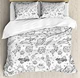 Boy's Duvet Cover Soft Microfiber 4 Piece Bedding Cover Set Doodle Solar System Astronauts Space Crafts and Shooting Stars Science Fiction Theme Black White Print, Zipper Closure and Corner Ties