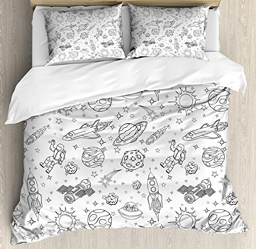 Boy's Duvet Cover Soft Microfiber 4 Piece Bedding Cover Set Doodle Solar System Astronauts Space Crafts and Shooting Stars Science Fiction Theme Black White Print, Zipper Closure and Corner Ties by CyCoShower