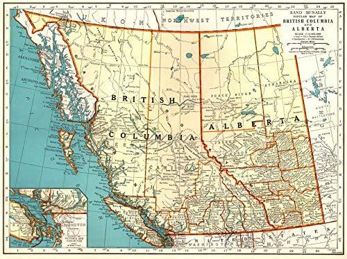 Amazon com: 1939 Antique British Columbia Canada Map Original