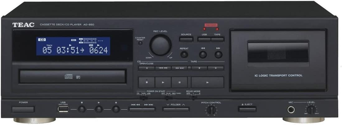 Teac AD-850 - Reproductor Cassette y CD, Negro