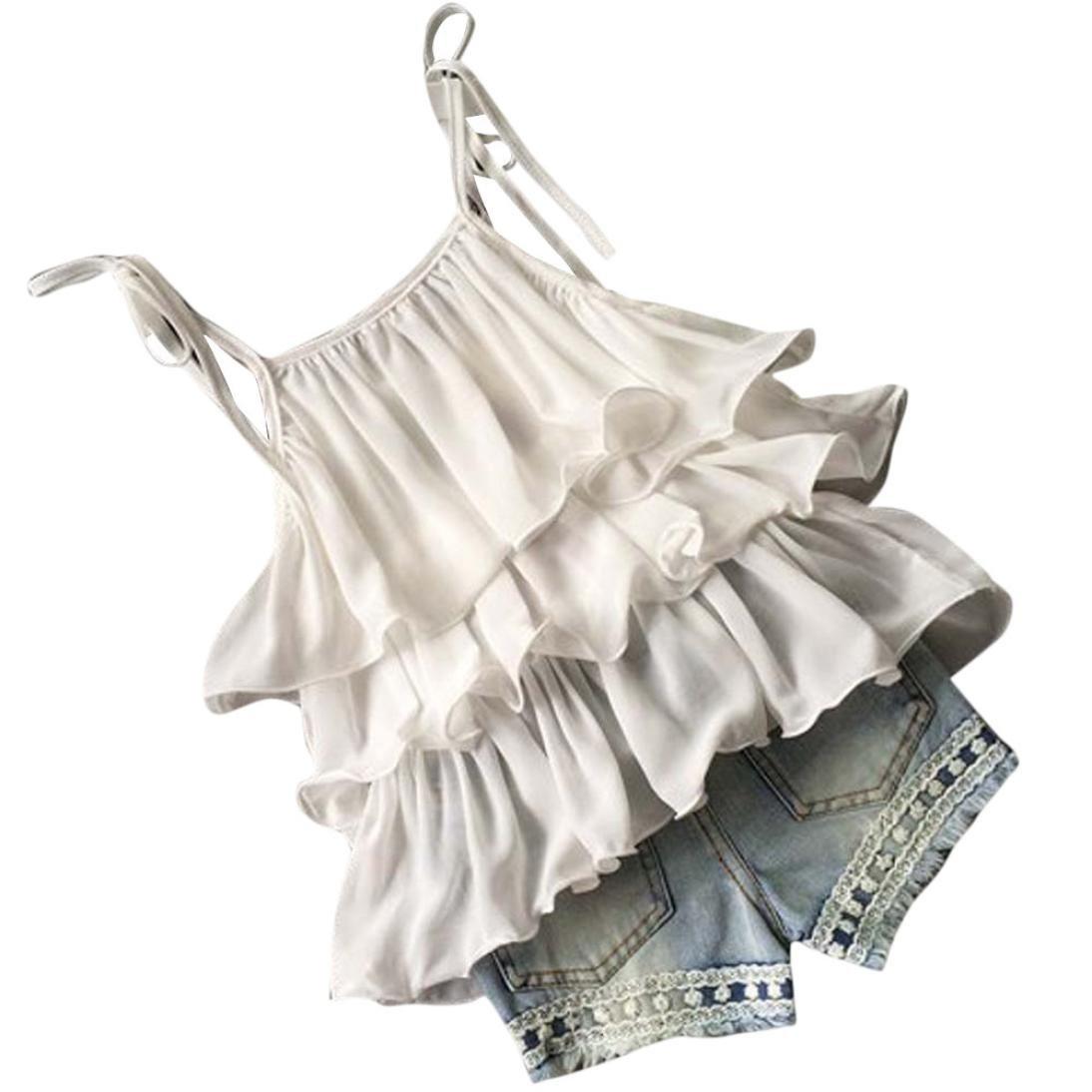 Suma-ma Kids Baby Girl 3PCS Set, Summer Chiffon Strap Ruffled Beaded Top + Flower Denim Shorts Outfits 2-7T (3/4T, White)