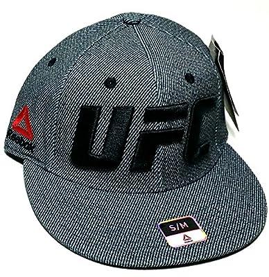 Reebok UFC RBK MMA Black White Railroad Stripe Logo Flex Fit Fitted Hat Cap S/M by Reebok