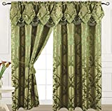 """Home Decor Sage Curtain Panel with Attached Waterfall Valance 54"""" X 84"""" Tkdecor"""