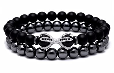 Joya Gift Black Onyx Stone Bead Bracelet CZ Charm with Unique Tiger Eyes for Men and Women