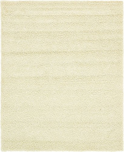 (Unique Loom Solo Solid Shag Collection Modern Plush Pure Ivory Area Rug (8' 0 x 10')