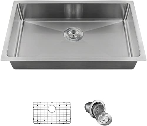 2905S Single Bowl 3 4 Radius Stainless Steel Sink Ensemble Bundle – 3 Items Sink, Grid, Basket Strainer