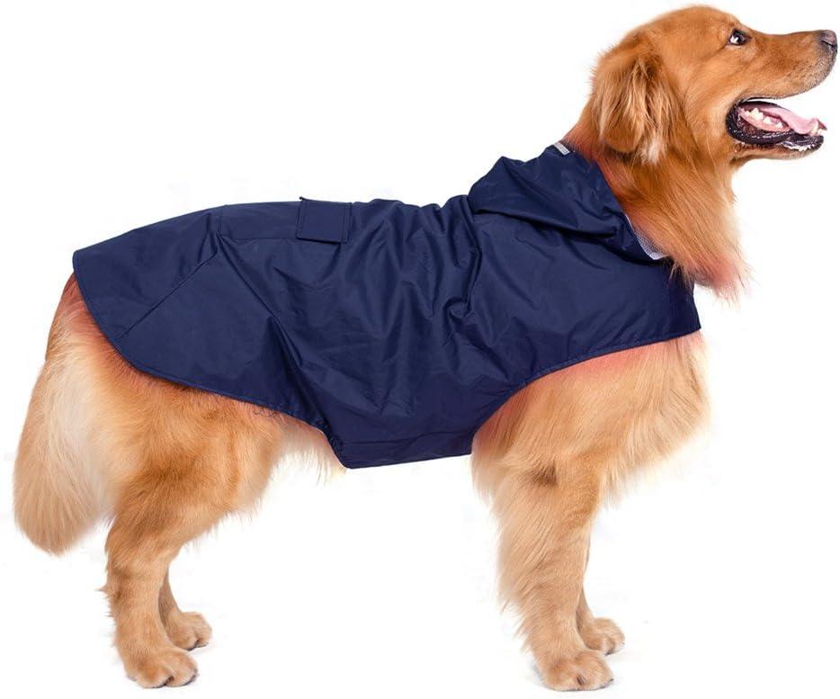 Decdeal Perros Lluvia Chaqueta Perros Chubasquero con capucha con rayas reflectantes para perros grandes, 6XL