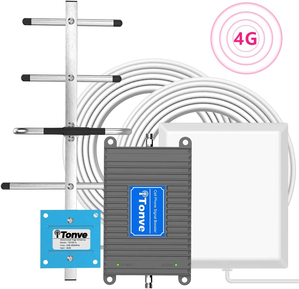 AT&T Cell Signal Booster, Cell Phone Signal Booster for All Carriers AT&T T-Mobile 700MHz Band 12/17 4G LTE Home Office Use Cellular Repeater Amplifier Kit Boost Voice and Data Up to 4,500Sq Ft