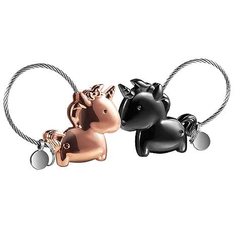 LHKJ 1 par Llavero Pareja Unicornio, Llavero para Pareja Amantes Valentines Sweet Regalo Llaveros con Boca magnética, para Amantes Mujer Hombre (Negra ...
