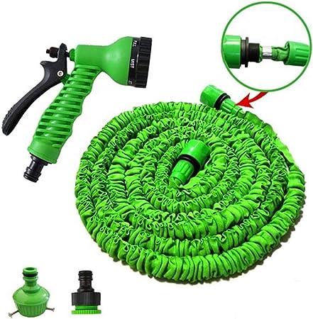 ZHX Tubo Extensible de la Manguera del jardín los 25ft 3 Veces Que amplía el Arma de Agua 7 función Pistola de pulverización Ligera Ducha Manguera de Agua para Lavar Coche/irrigación/Limpieza,Green: Amazon.es: