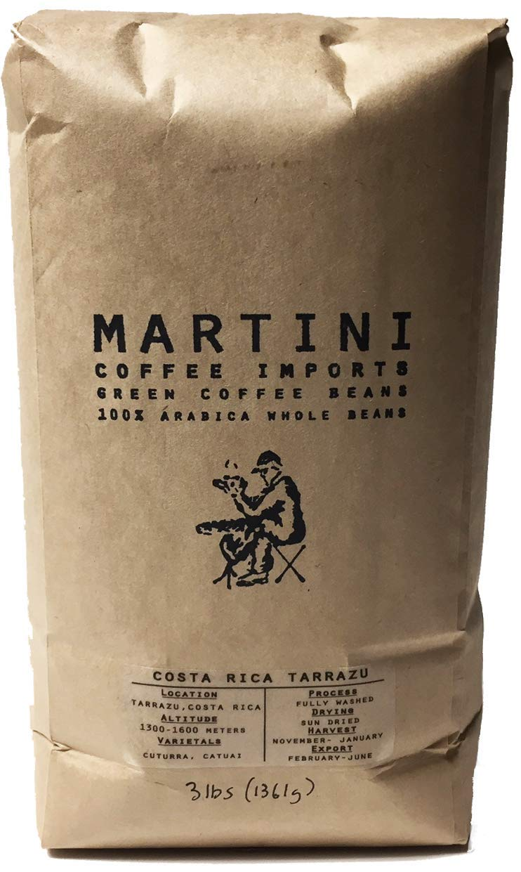 3Lbs, Single Origin Unroasted Green Coffee Beans, Costa Rica Tarrazú by Martini Coffee Roasters