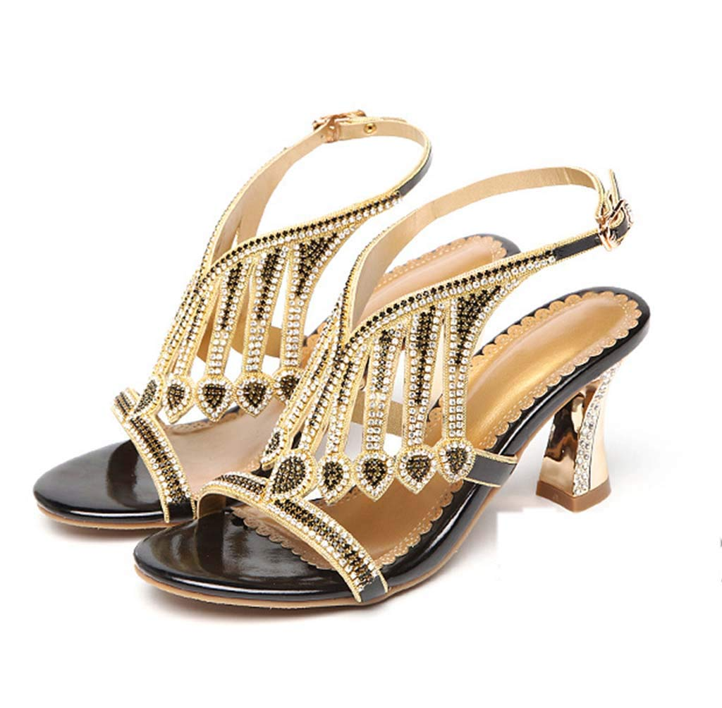 HRN Womens Sandals Rhinestones with Diamond-Encrusted Leather Sandals high Heels Open Toe Thick Heel Sandals Summer New