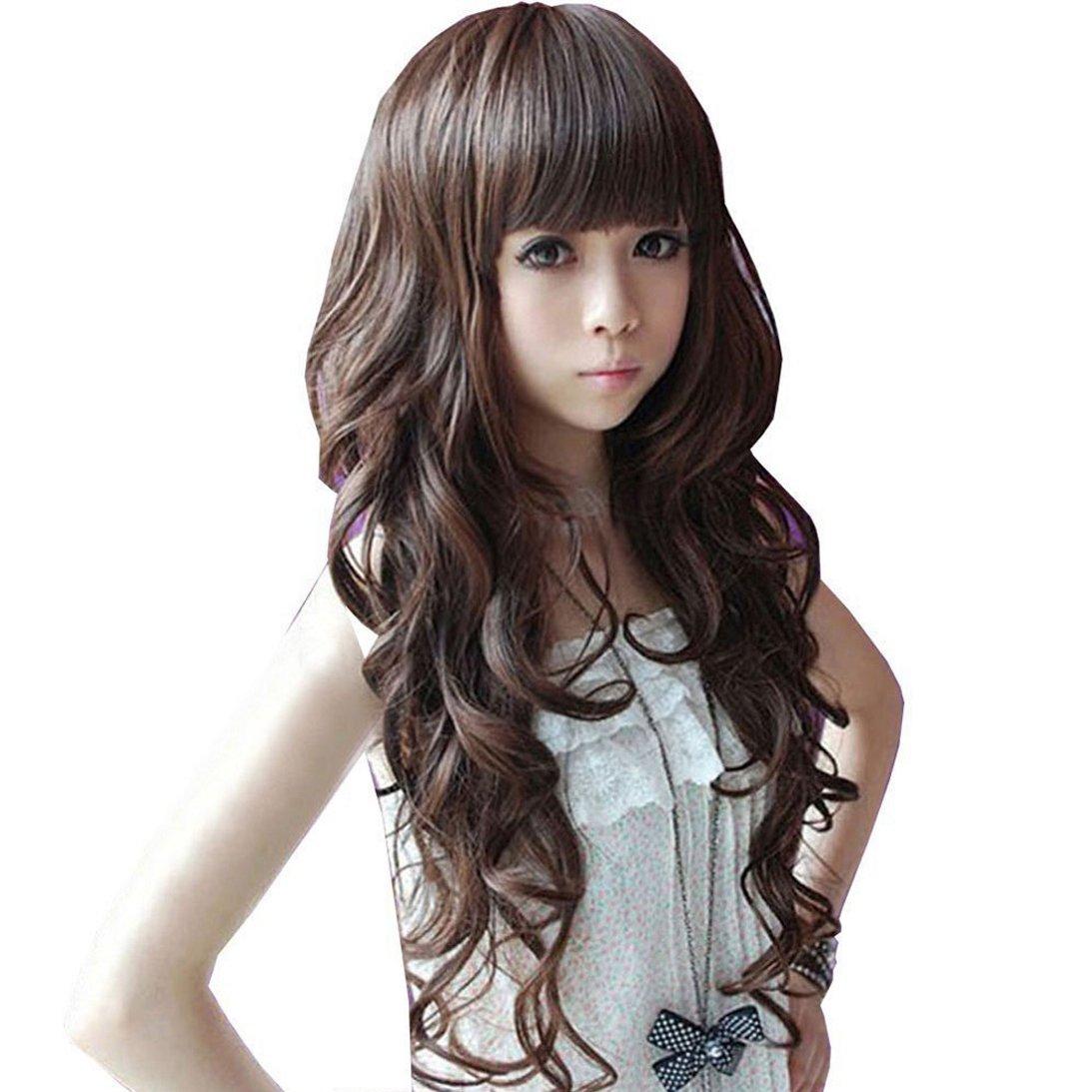Amazon.com: Sunward Fashion Womens Girls Dark Brown Wavy Curly Long Hair Human Wig+wig Cap: Home & Kitchen