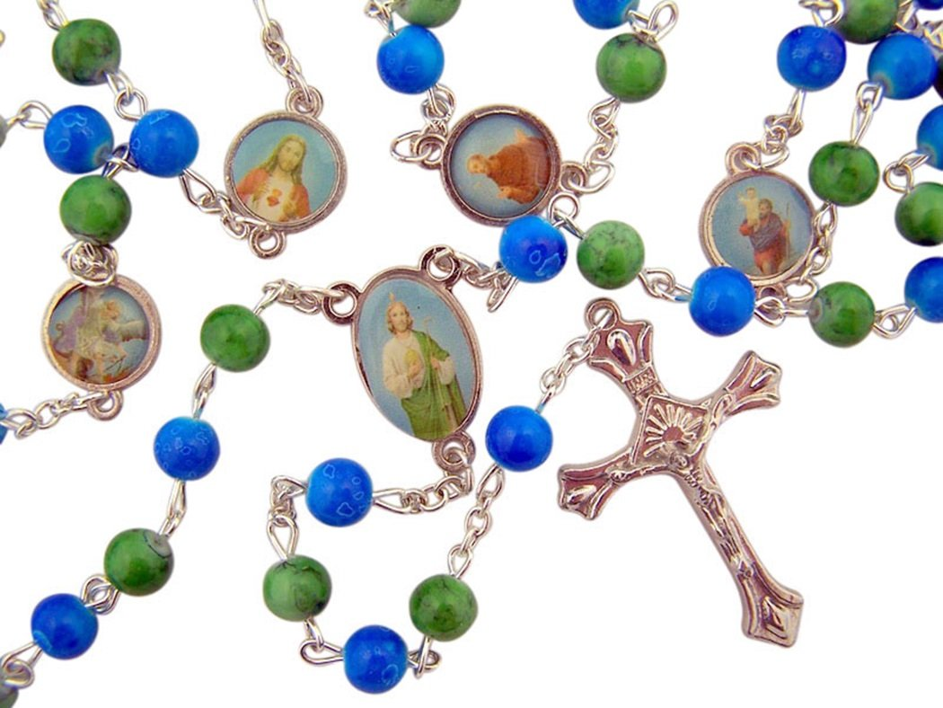 Religious Gifts Blue and Green Glass Prayer Bead Male Saint Rosary for Boys, 21 1/2 Inch