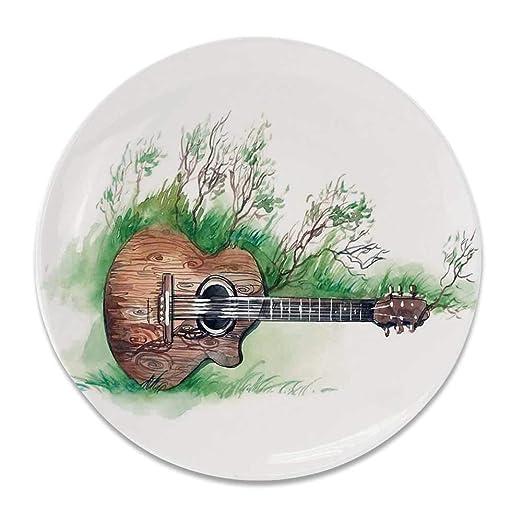 YOLIYANA - Plato Decorativo Redondo de cerámica para decoración de ...