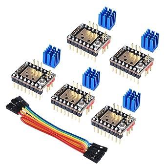 PoPprint TMC2208 V3.0 Schrittmotortreibermodul mit K/ühlk/örper mit UART-Modus kompatibel mit Ramps1.4 oder MKS Board SKR V1.3 f/ür 3D-Drucker STEP//DIR