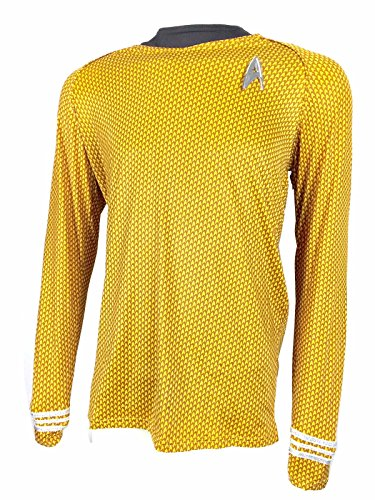 Oem Men's Star Trek Captain Kirk Shirt Uniform With Command Fleet Badge S Gold (Mascot Uniforms)