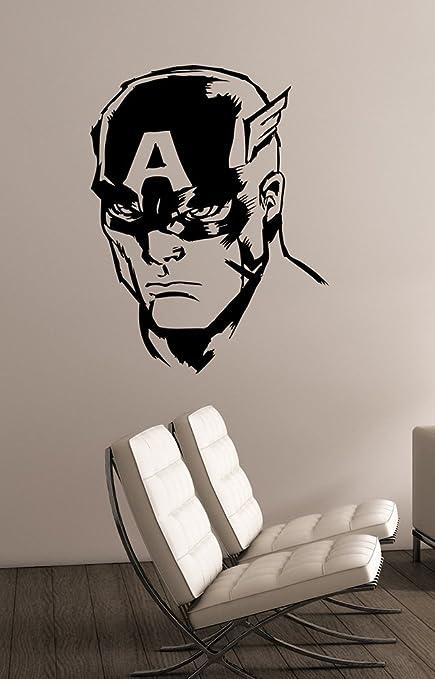 Amazon.com: Captain America Head Wall Art Decal Vinyl ...
