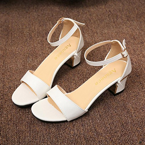 Women Shoes Shoes Pumps White Mid Toe Court Ladies Heels Shoes Sandals Pointed Fashion Summer Wedding qFwCqHAr