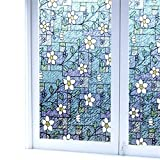 Viclover Stained Glass Window Film Non-Adhesive Static Vinyl Window Films Privacy Decorative Window Clings Color Flower Pattern Design 35.43 inches by 78.74 inches