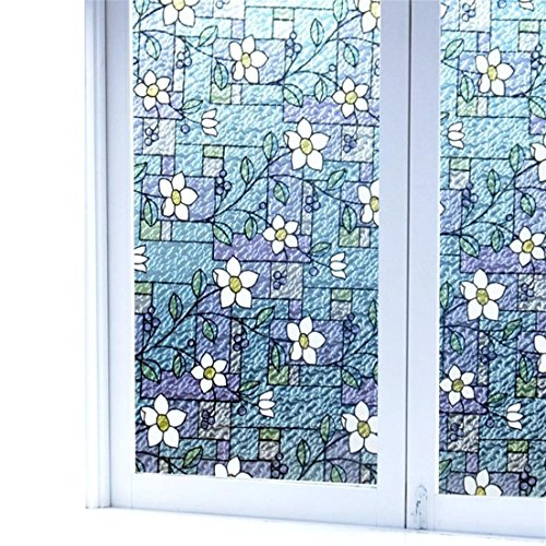 Viclover Stained Glass Window Film Non-Adhesive Static Vinyl Window Films Privacy Decorative Window Clings Color Flower Pattern Design 35.43 inches by 78.74 inches by Viclover