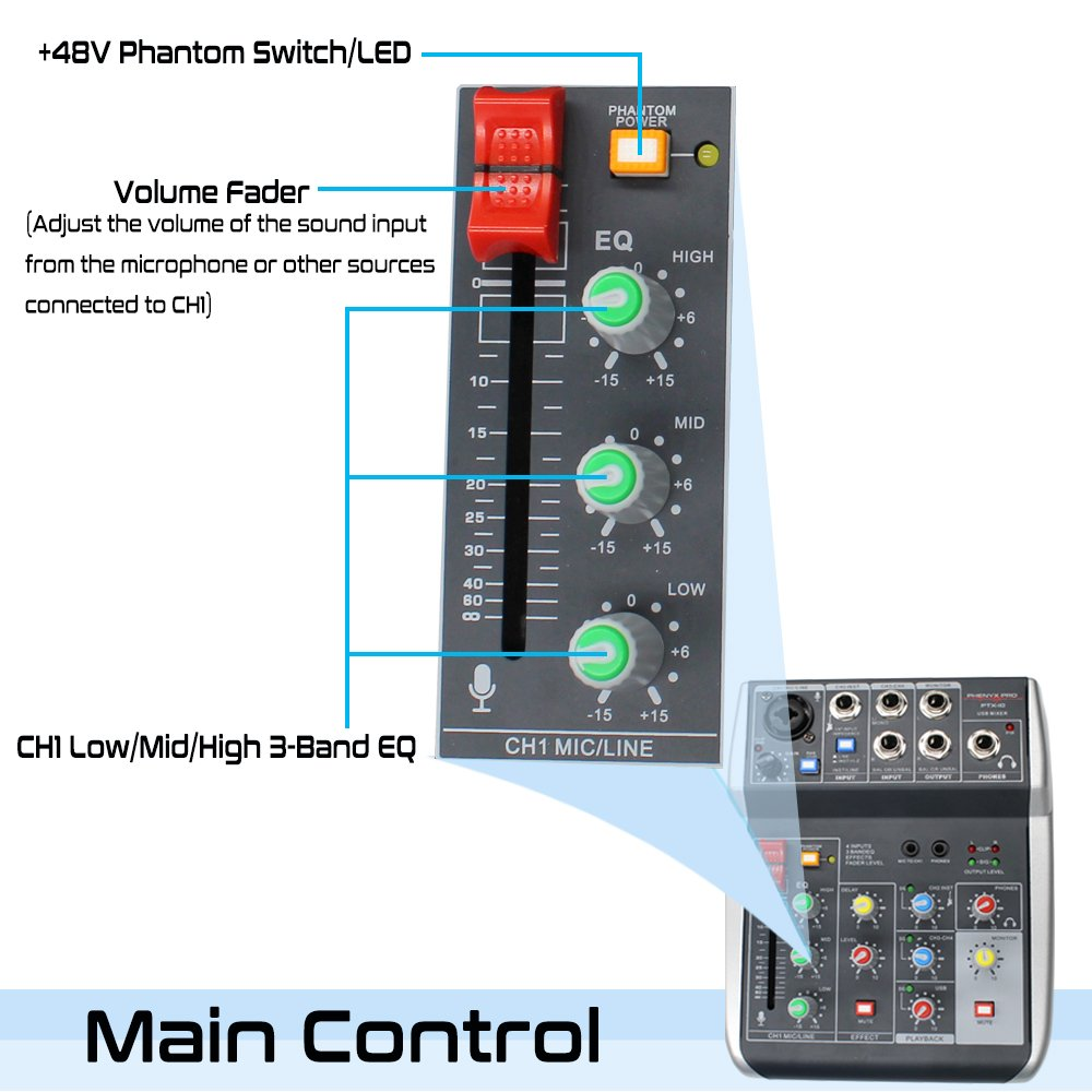 Phenyx Pro 4-Channel Audio USB Mixer, 4-Input, 3-Band EQ, Compact Size With Effects And USB Audio Interface To Computer/PC, Ideal for Home Recording, Small Gigs, Live Music (PTX-10) by Phenyx Pro (Image #5)