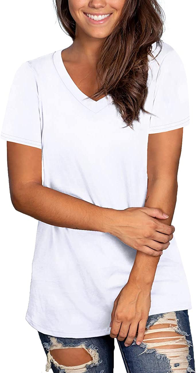 NIASHOT Womens Short Sleeve V-Neck Loose Casual Tee T-Shirt Tops