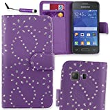 Connect Zone® Diamond Glitter Leather Flip Wallet Case Cover Pouch for Samsung Galaxy Young 2 (SM-G130) with Screen Protector and Mini Stylus - Purple Diamond Glitter