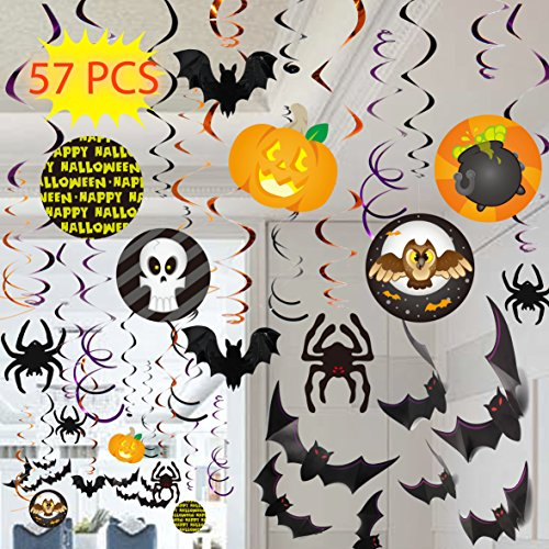 Spooktacular Creations Halloween Party Swirl Ceiling Hanging and Wall Decoration Set (57 Pieces) - Hanging Ceiling Decorations