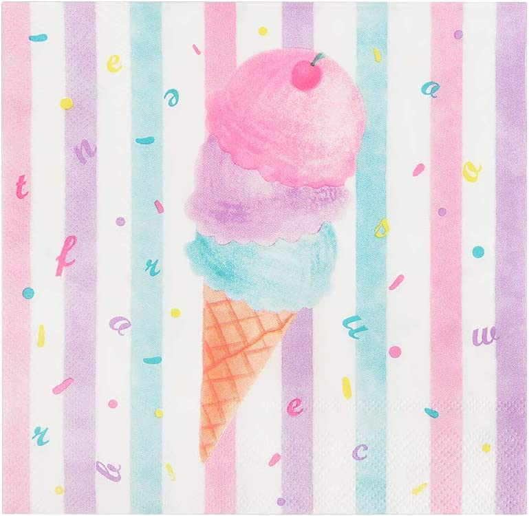 WERNNSAI Ice Cream Party Supplies Disposable 3 Ply Pink Sweet Ice Cream Themed Birthday or Baby Shower Party Luncheon Dessert Napkins for Girls Pool Summer Celebration