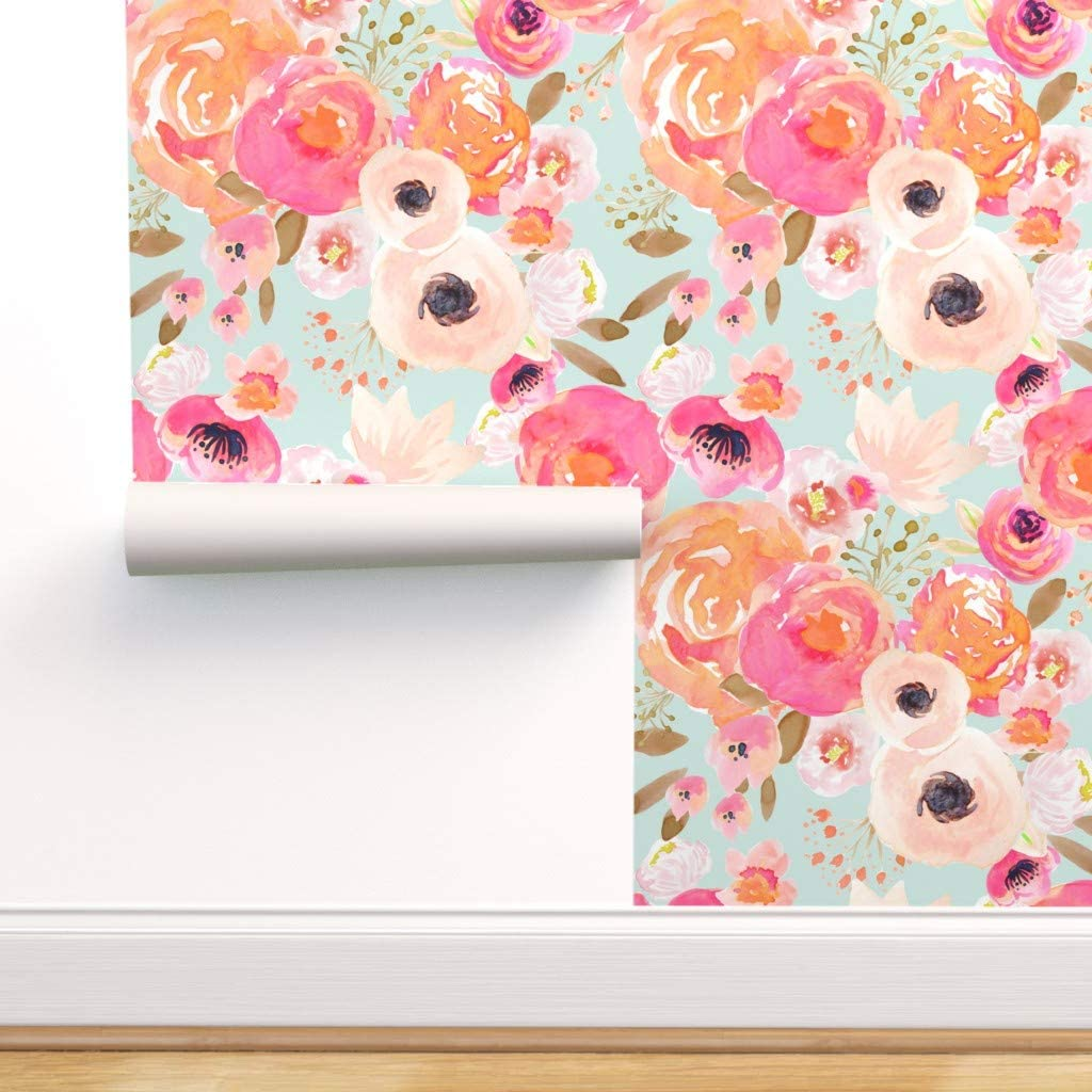 Spoonflower Peel And Stick Removable Wallpaper Blush Pink Summer