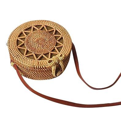 51e52fcad748 Rakkiss Women Crossbody Bag Fashion Circle Rattan Handwoven Shoulder ...