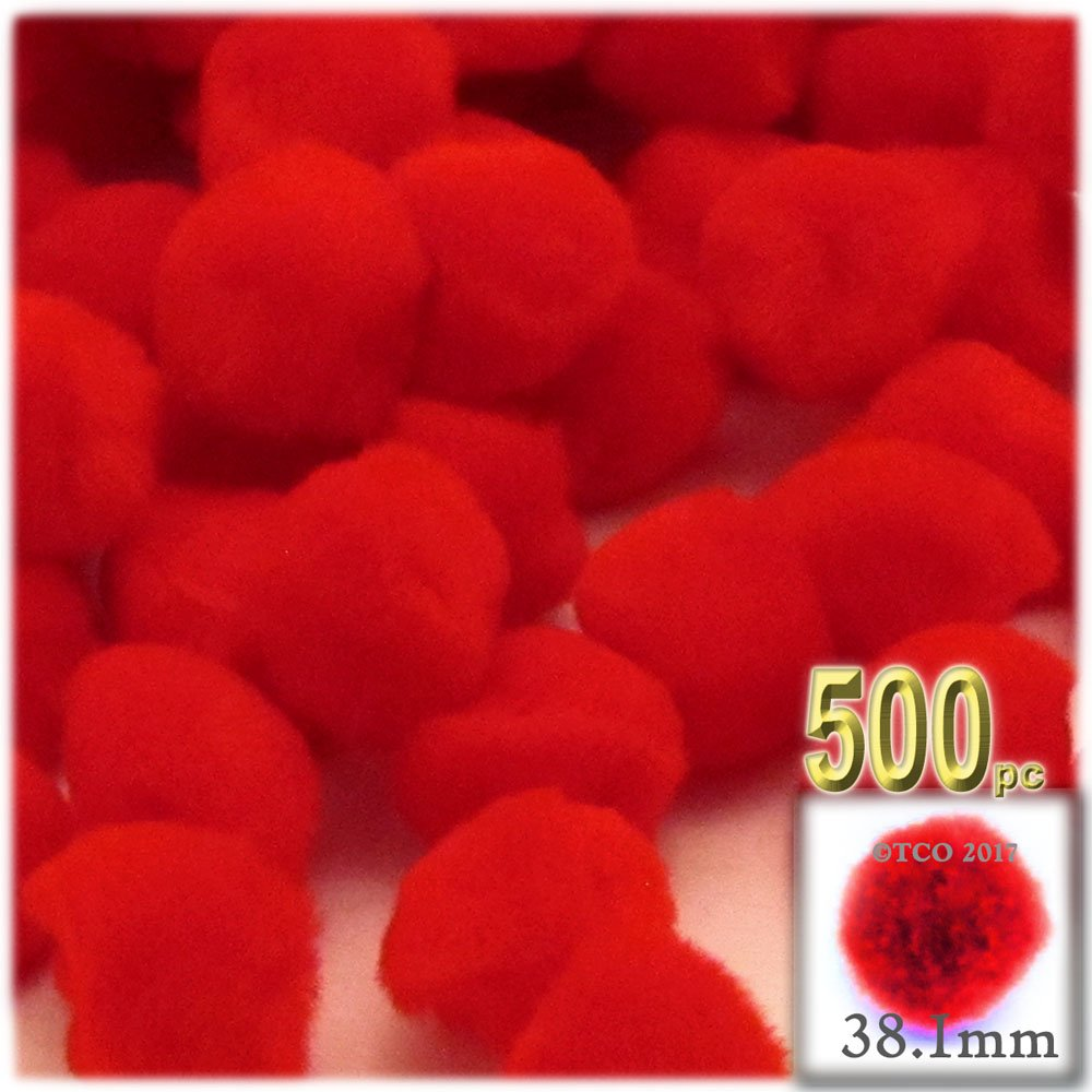 The Crafts Outlet 500-Piece Multi Purpose Pom Poms, Acrylic, 38mm/About 1.5-inch, Round, Red by The Crafts Outlet