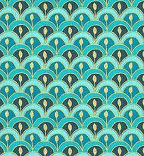 - Dollhouse Miniature 1:12 Wallpaper - Victorian Scallop - Teal Blue
