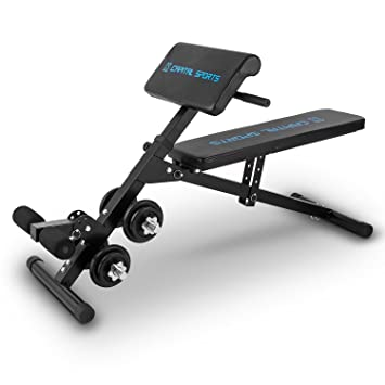 Capital Sports varient Curl de pesas banco de entrenamiento banco Sit Up Banco fitness Banco con Juego de pesas cortas 20 kg (ajustable de soporte de ...