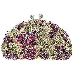 Fawziya Crystal Grape Hard Case Purses Luxury Rhinestone Clutch Evening Bag-Gold