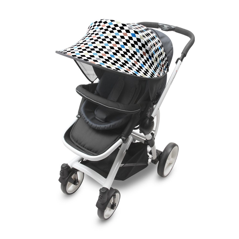[Manito] Sunshade Scandi / Sunshade for Baby stroller, Pushchair, and Car Seat, Wide Sunblock, UV Cut, Universal and easy installing (star_grey) Totalkids