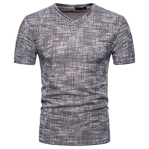 Bluestercool Hommes Été Casual Col en V Manches Courtes T-Shirt Top Café