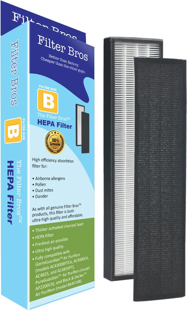FLT4825 True HEPA Replacement Filter B for GermGuardian AC4825 Home Air Cleaner Purifiers, AC4300BPTCA / AC4850PT with Pet Technologies, AC4900CA Systems Captures Allergies/Pets / Germ (1, B)