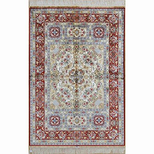 Yilong 4'x6' Handwoven Persian Silk Rug Antique Oriental Medallion Handmade Carpet for Living Room (4 Feet by 6 Feet, Red) 1916