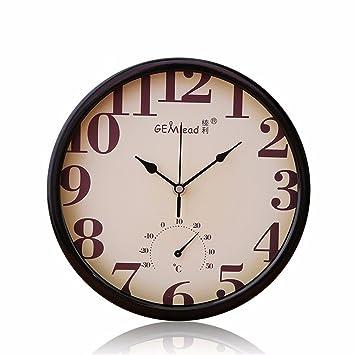 Temperatura y Humedad Dormitorio Creativa Relojes de Pared Moderno Europeo Reloj Digital Redonda 25CM, Negro: Amazon.es: Hogar