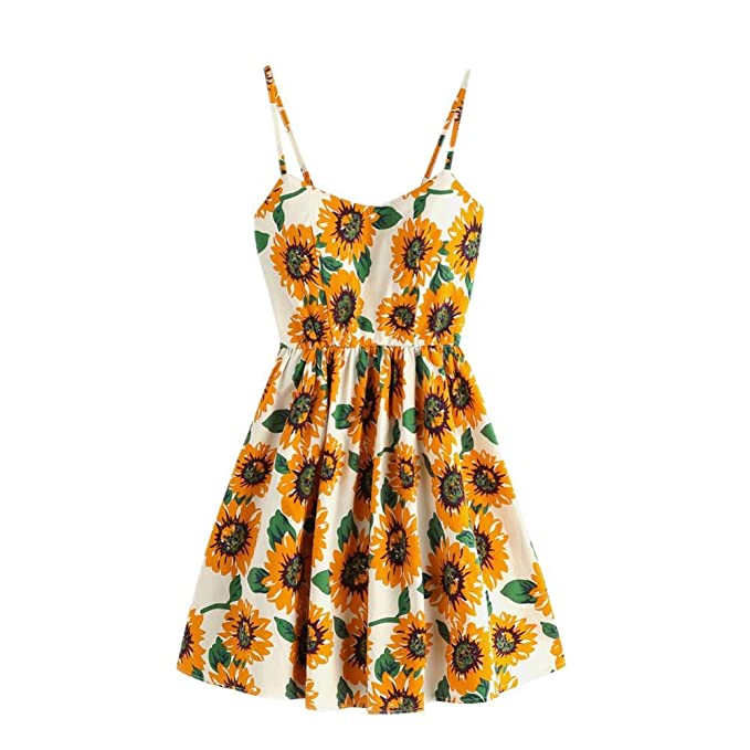 5ac53e16c288 Joint Womens Sunflower Sleeveless Dress, 2018 Summer Ladies Floral Print  Party Beach Mini Dress (