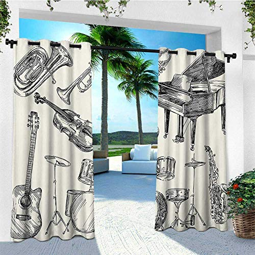 leinuoyi Jazz Music, Outdoor Curtain Panels Set of 2, Collection of Musical Instruments Sketch Style Art with Trumpet Piano Guitar, Outdoor Patio Curtains W96 x L96 Inch Beige Black ()